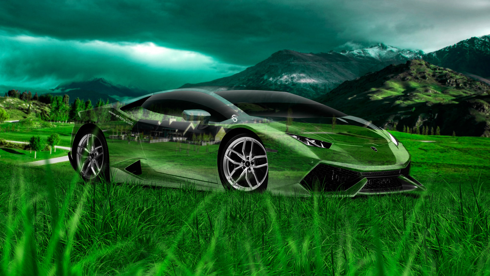 Beau Lamborghini Huracan Crystal Nature Car 2014 Art Photoshop HD  Wallpapers Design By Tony Kokhan Www